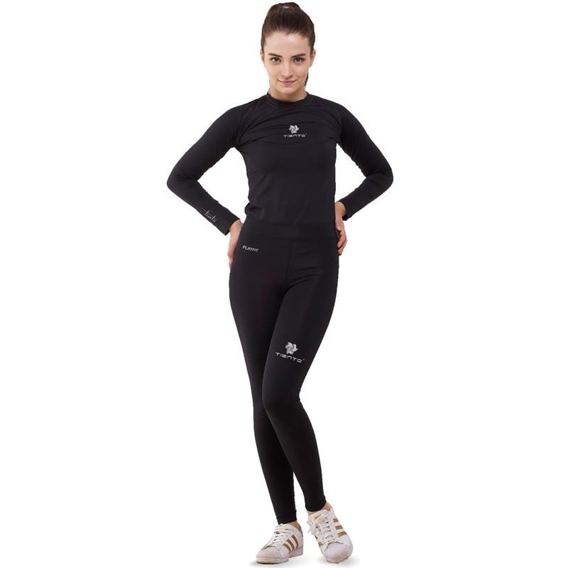Jual Tiento Setelan Baselayer Manset Celana Leging Pakaian Olahraga Wanita Black Silver Online Oktober 2020 Blibli Com