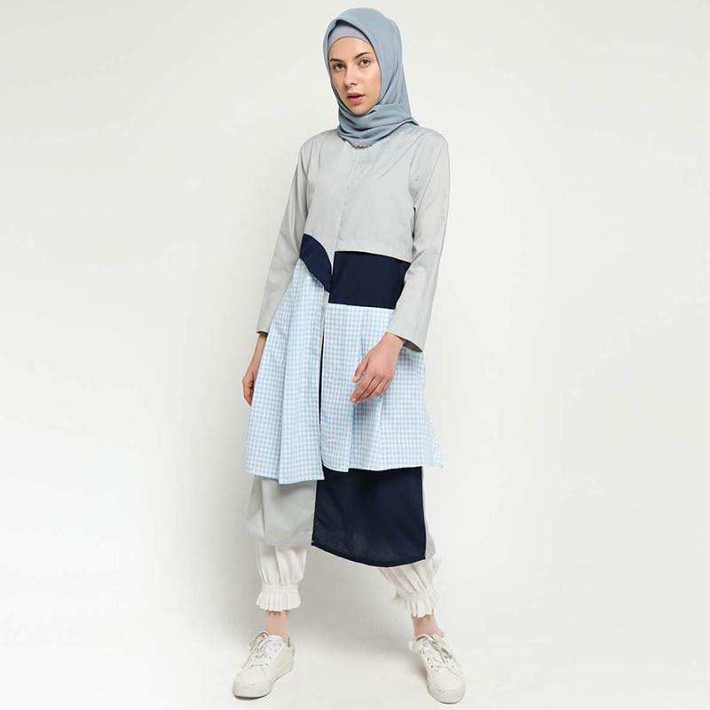 Namirah The Label Asaku Dress Wanita Grey Blue