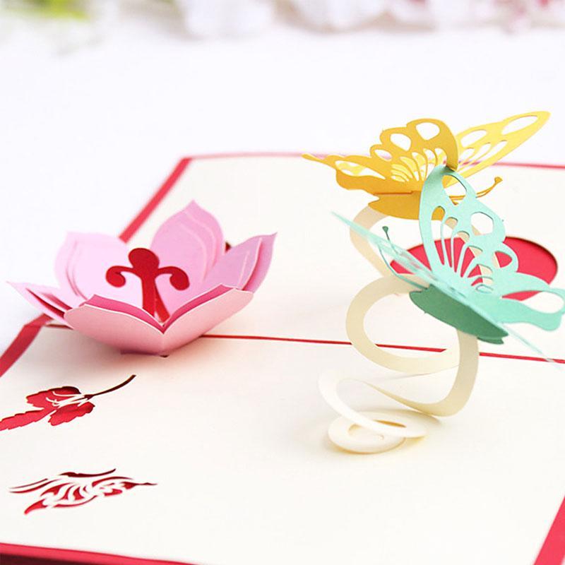 Jual Bluelans Romantic Flower Butterfly 3d Pop Up Greeting Card Couple Valentine S Day Gift Online Februari 2021 Blibli
