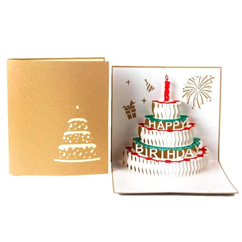 Creative Birthday Cake Candles 3D Pop Up Paper Greeting Card Festival Gift NEW