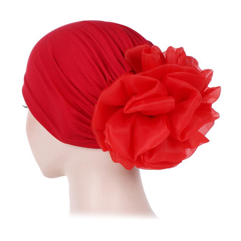 Jual Bluelans Solid Color Mesh Flower Islamic Muslim Hijab Women Headwrap Turban Chemo Hat Online Januari 2021 Blibli