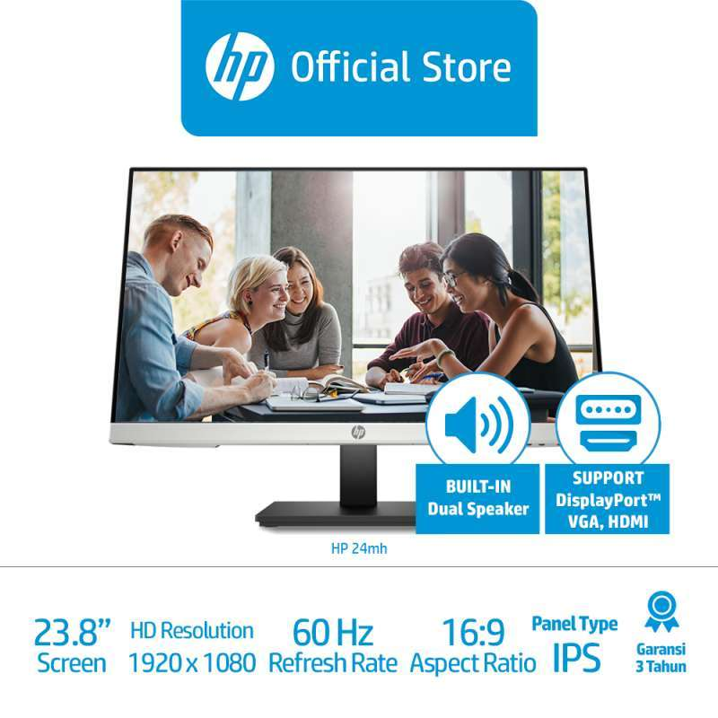 HP 24mh Monitor Komputer 24 inch 1920 x 1080 IPS 60 Hz 5 ms DisplayPort HDMI VGA