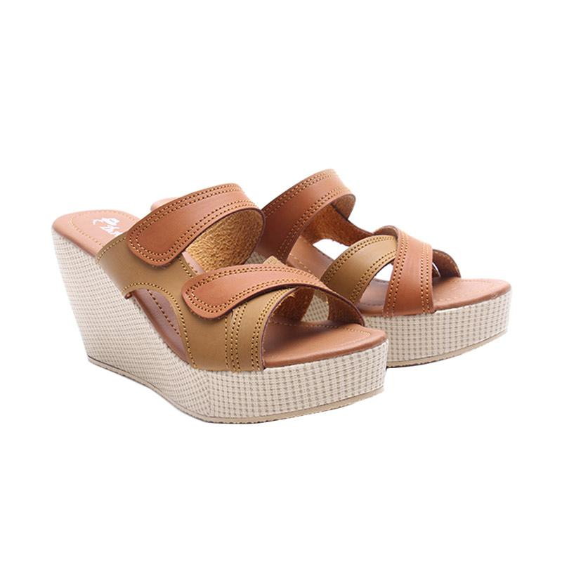 Dr.Kevin Leather 27318 Wedges Sandals Wanita - Tan
