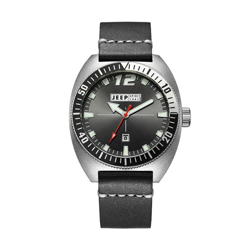 Jeep JPS50202 Leather Men's Watch - Black Silver
