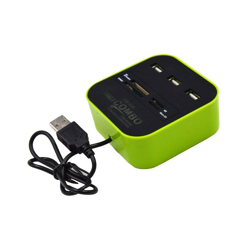 Xtecgo H-003 Combo USB Hub + Card Reader - Hijau
