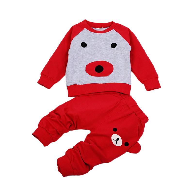 Chloe Babyshop 2in1 Bear Set F983 Baju Anak - Red