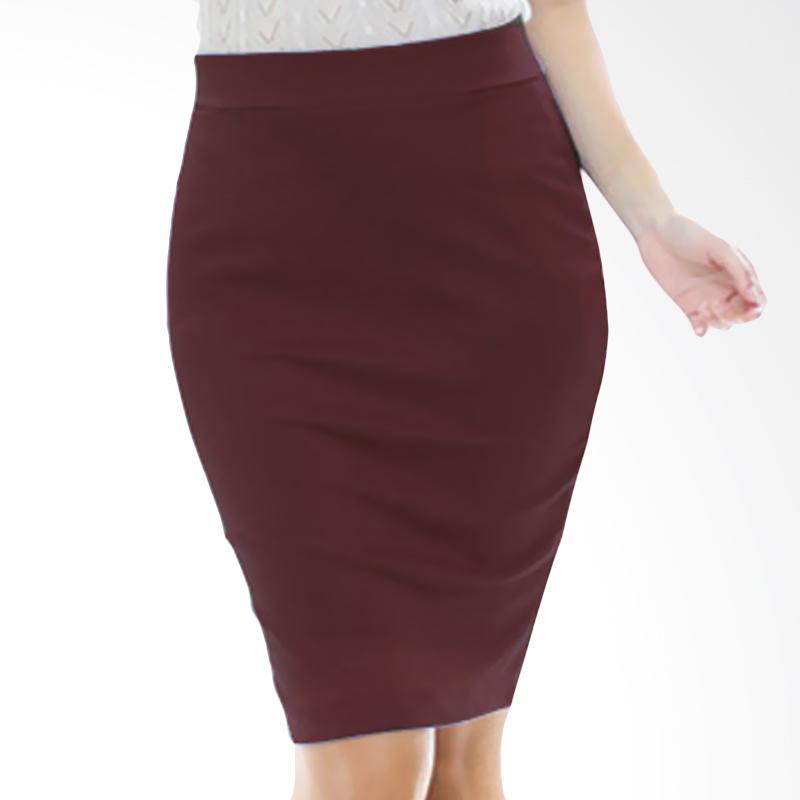 Rasya Rok Wedges Pencil Pendek Skirt - Maroon