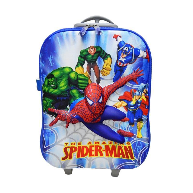 Wonderland Motif Spiderman Trolley Bag Anak - Biru