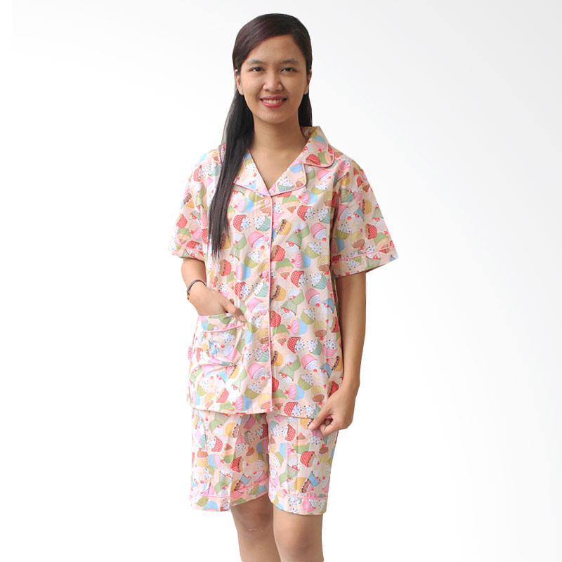 Aily SL013 Cupcakes Setelan Baju Tidur Piyama Wanita - Pink