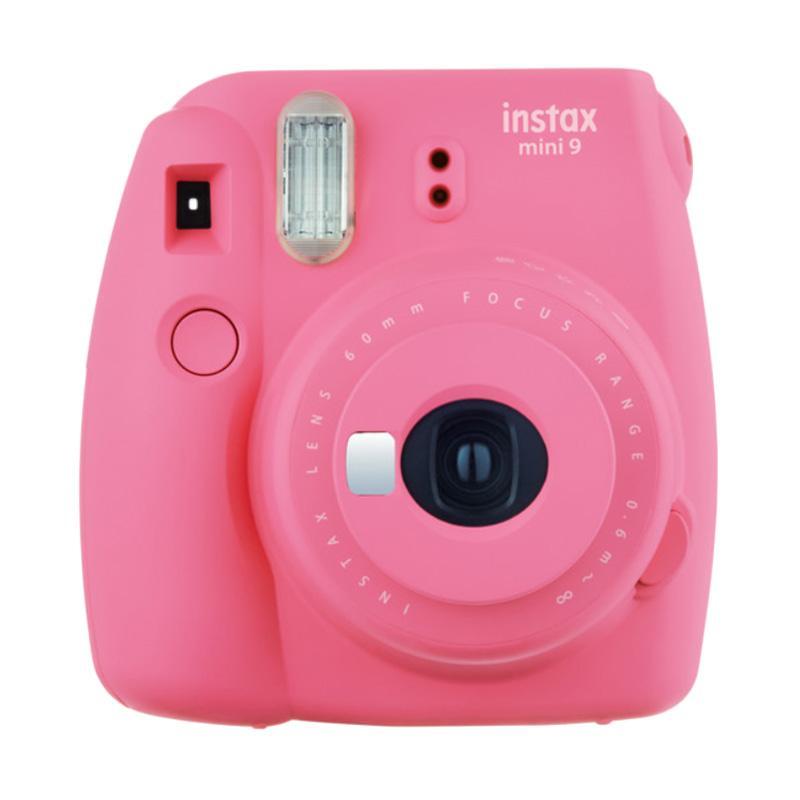 Fujifilm Instax Mini 9 Instant Film Camera - Flamingo Pink + Paper polos 5 Box Free Paper comic 1 Box