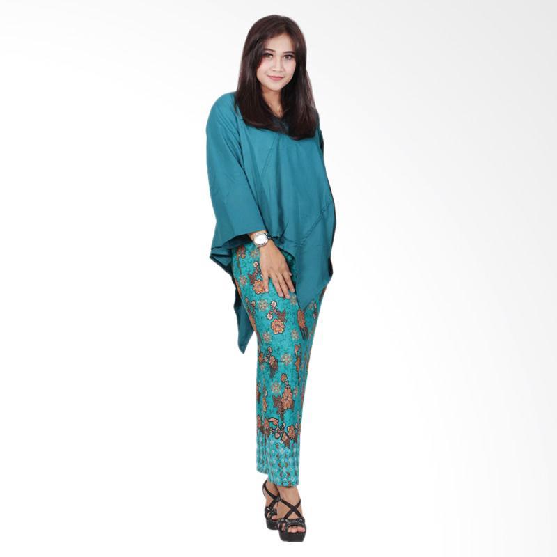 Batik Putri Ayu Solo D91 Atas Bawah Katun Setelan Dress Batik - Hijau