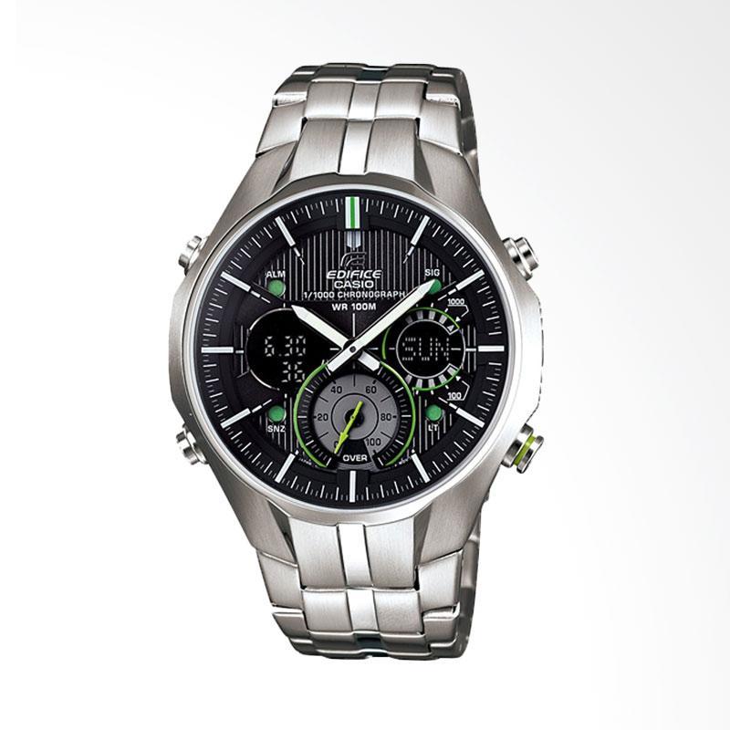 CASIO EDIFICE Chronograph Bahan Tali Stainless Steel World Time LED Light Jam Tangan Pria - Silver EFA-135D-1A3VDF