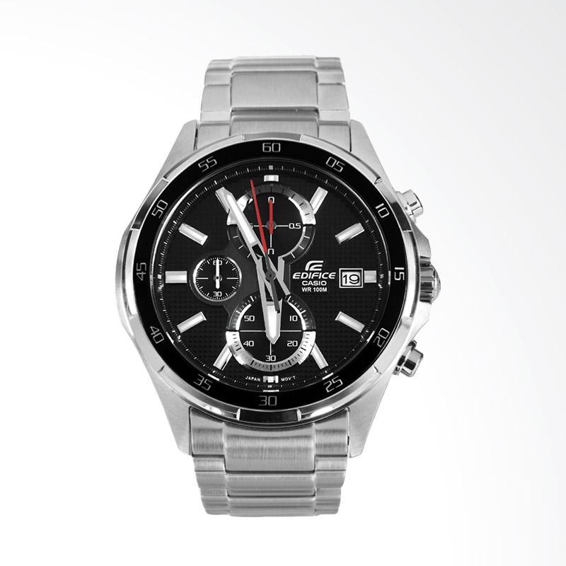 CASIO EDIFICE Chronograph Bahan Tali Stainless Steel Dial Hitam Jam Tangan Pria - Silver EFR-531D-1AVUDF