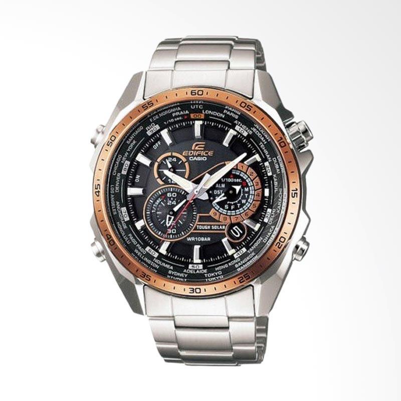 CASIO EDIFICE World Time Solar Powered Chronograph Bahan Tali Stainless Steel Jam Tangan Pria - Silver EQS-500DB-1A2DR