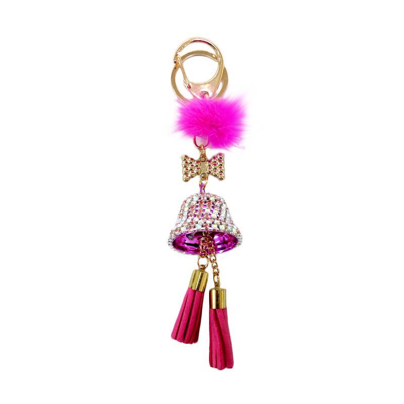 SIV BELL03 Lonceng Kombinasi Manik Key Chain - Pink