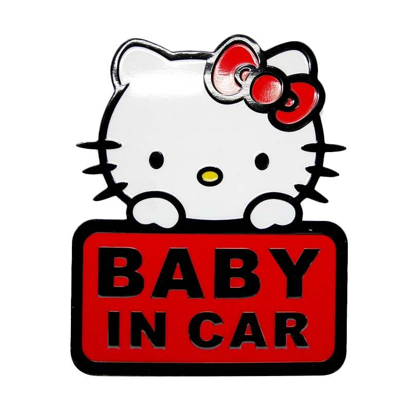 SIV EMB-KT1802 Baby In Car Motif Hello kitty Emblem Universal - Red
