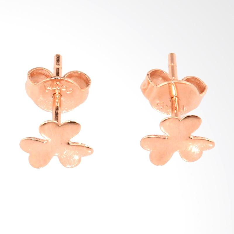 Tiaria Clover Earring Anting Emas Perhiasan - Rose Gold