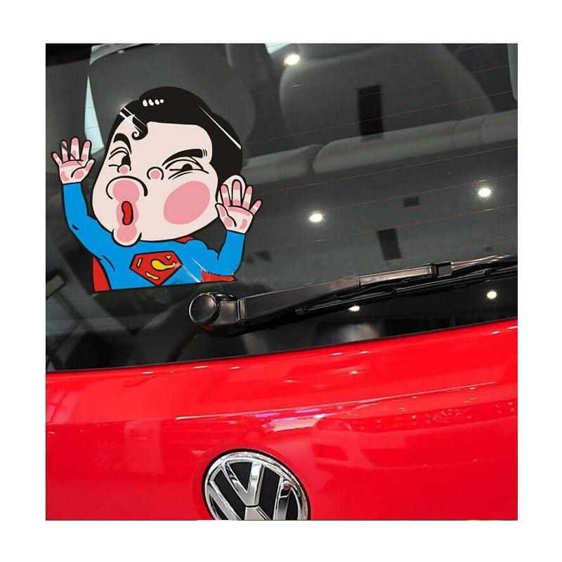 OEM Superman Hero Tabrak Kaca Hit the Glass Stiker Mobil