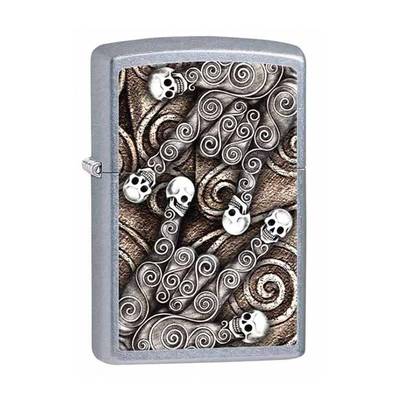 Zippo Skull Scroll Hand Street Pocket Lighter - Chrome