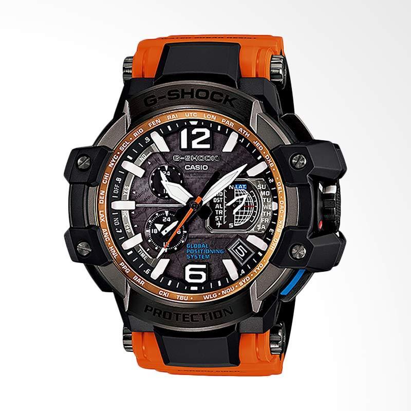 Casio G-Shock GPS Hybrid Wave Ceptor Jam Tangan Pria - Black Orange GPW-1000-4ADR