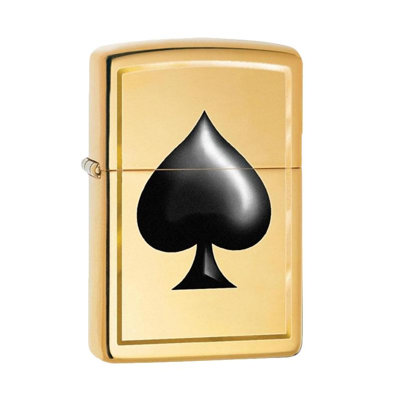 Zippo Black Spade Pocket Lighter - High Polish Brass