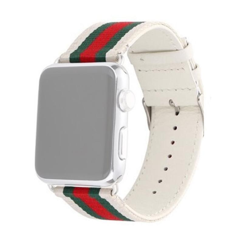 OEM Fabric Gucci Strap for Apple Watch 38 mm - White