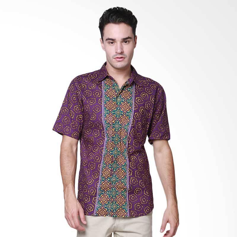 Days by Danarhadi Men Jumput Segi Teal Top Hem Batik Pria - Purple