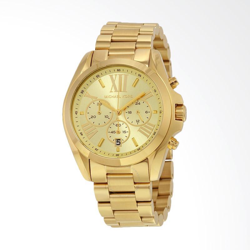 Michael Kors MK5605 Bradshaw Quartz Analog Display Women's Watch Jam Tangan Wanita - Gold