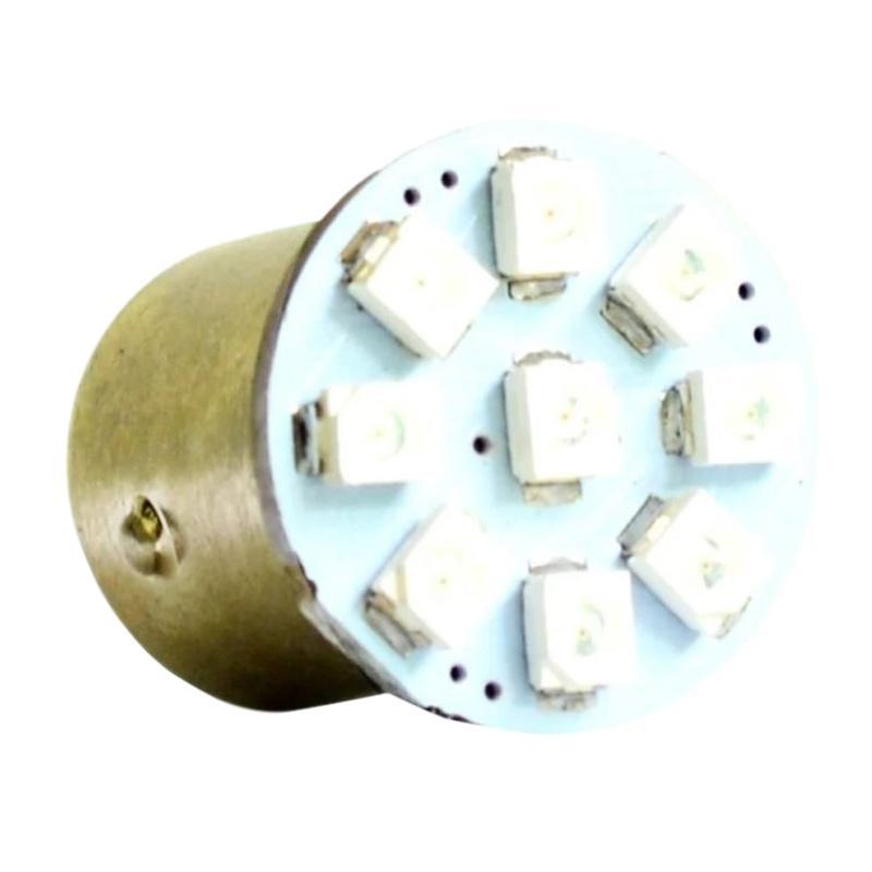 Raja Motor Aksesoris Motor 9nine Luminos Bohlam Belakang Bulat Datar 9 Mata TP-1206 S25 9- Putih [DOB9041- Putih]