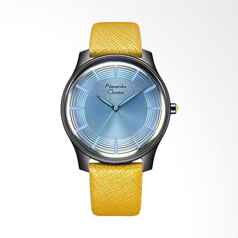 Alexandre Christie ACF-8532-MHLIGSLYL Signature Leather Strap Jam Tangan Wanita - Yellow Blue