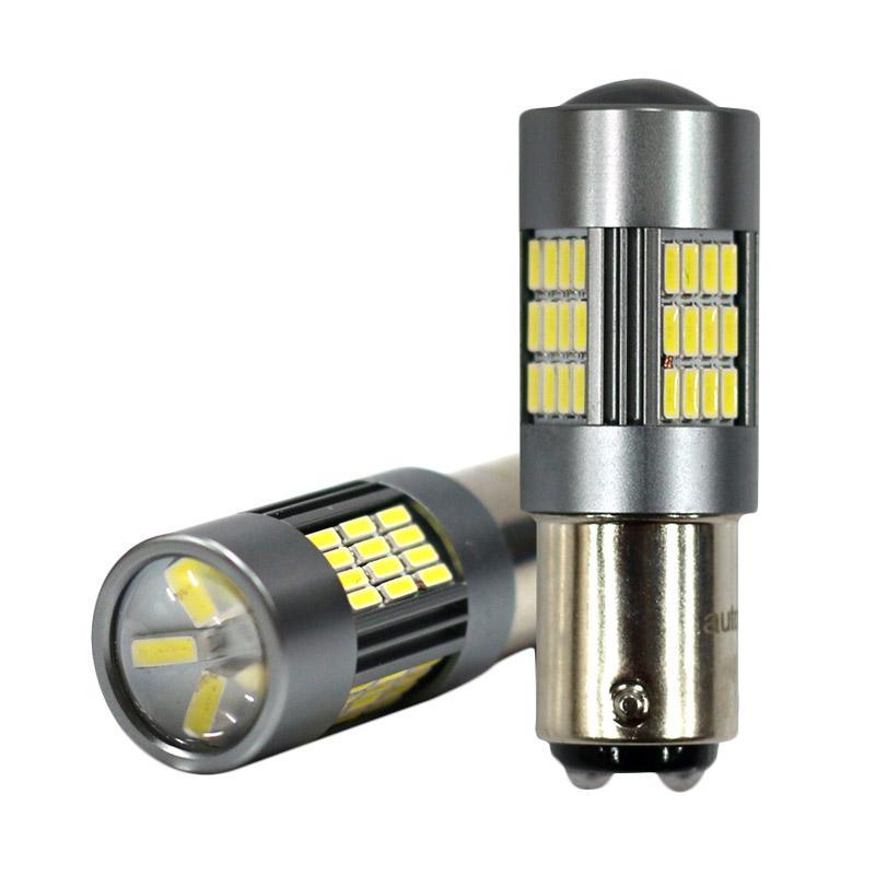 Autovision Microzen Led S25 Ba15S 54 - 4014H Bohlam Lampu - White [10-30V]