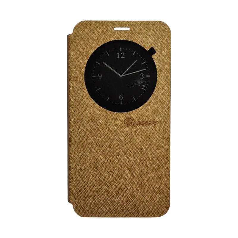 SMILE Leather Standing Flip Cover Casing for LG K10 2017 - Gold