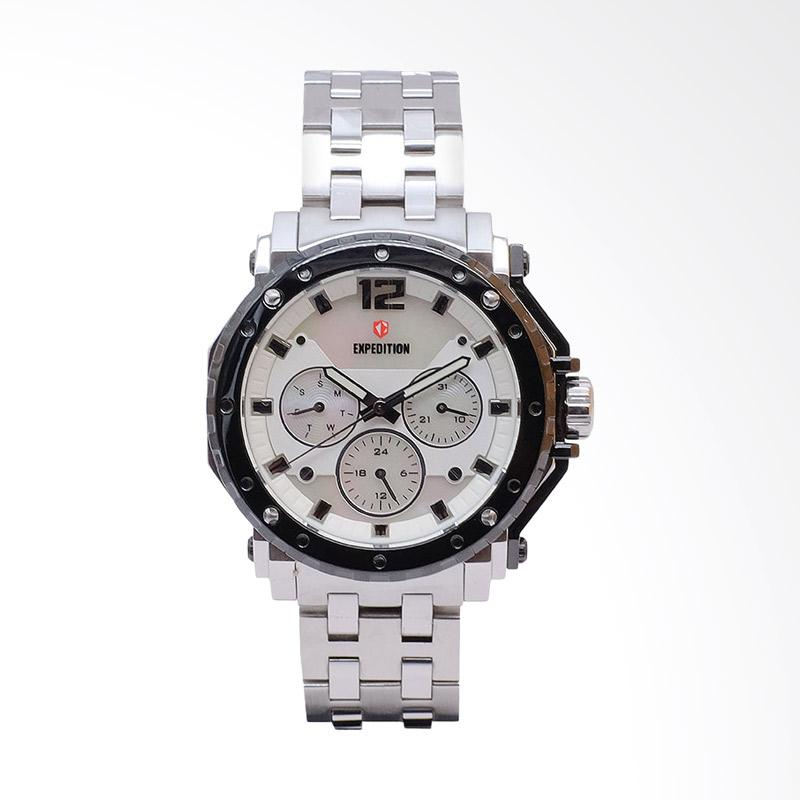Expedition Man White Dial Stainless Steel Jam Tangan Pria - Silver EXF-6402-BFBTBSL