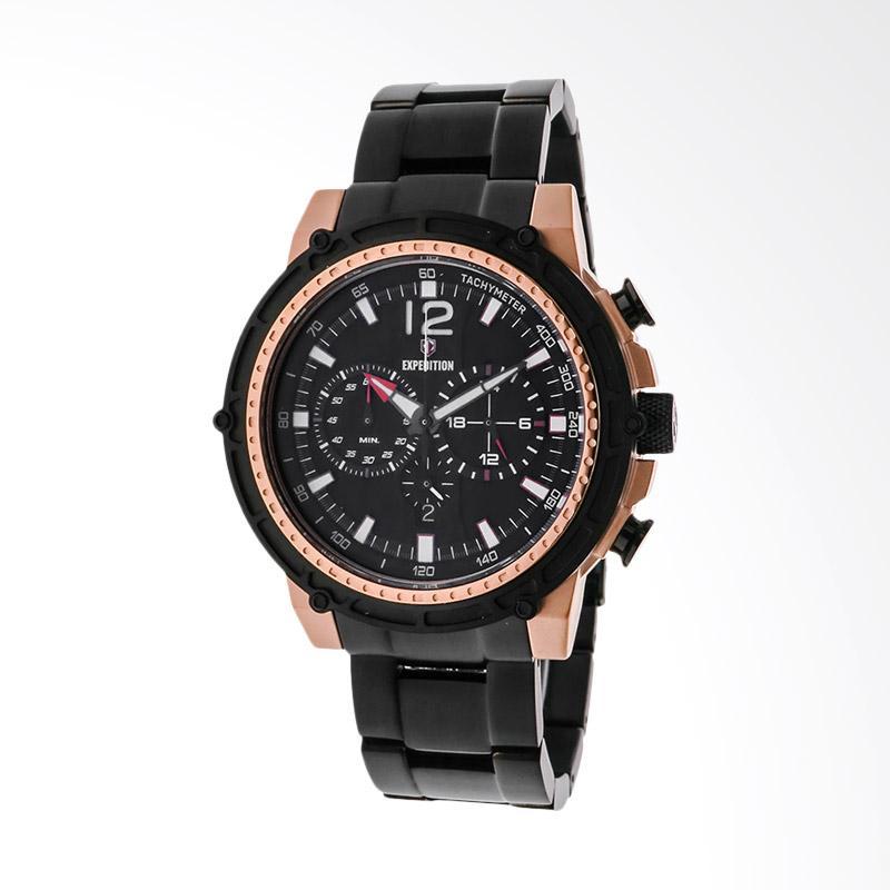 Expedition Man Chronograph Black Dial Stainless Steel Jam Tangan Pria - Black EXF-6716-MCBBRBA