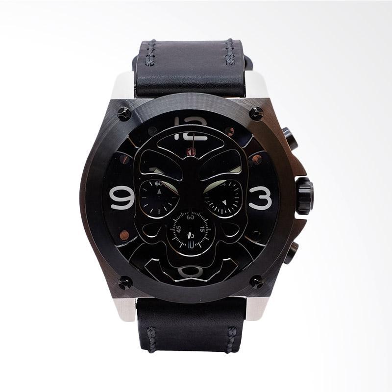 Expedition Man Black Dial Black Leather Extra Skull Bracelet Jam Tangan Pria - Black EXF-6699-MCLTBBA