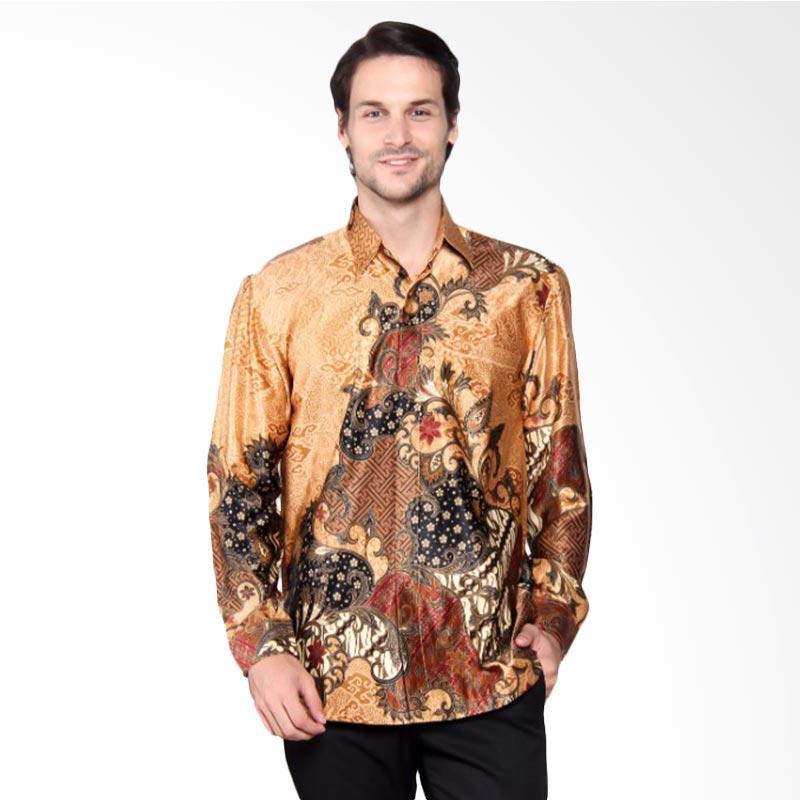 Batik Heritage Exclusive Linen Pola Rambat Bunga Kemeja Panjang Wanita - Yellow