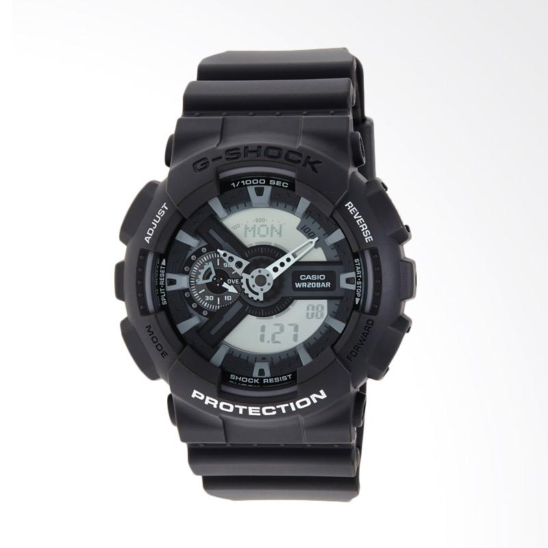 CASIO Men's G Shock Analog-Digital Grey Resin Strap Watch Jam Tangan Pria - Black GA110C-1A