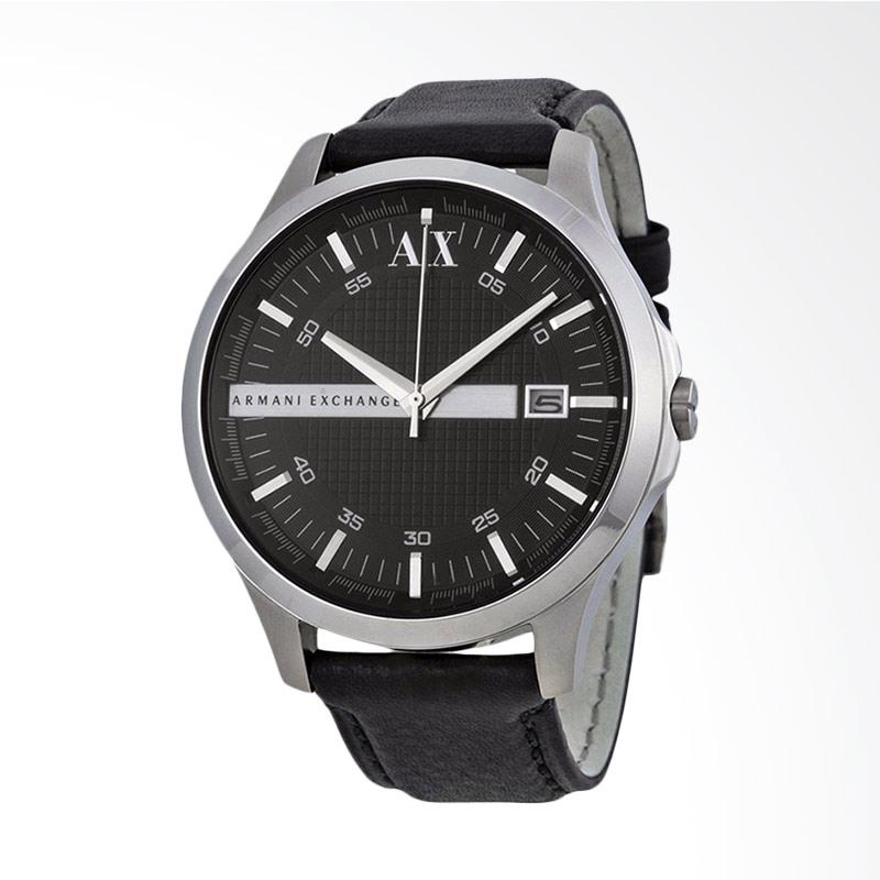 Armani Exchange Whitman Black Dial Black Leather Strap Jam Tangan Pria AX2101