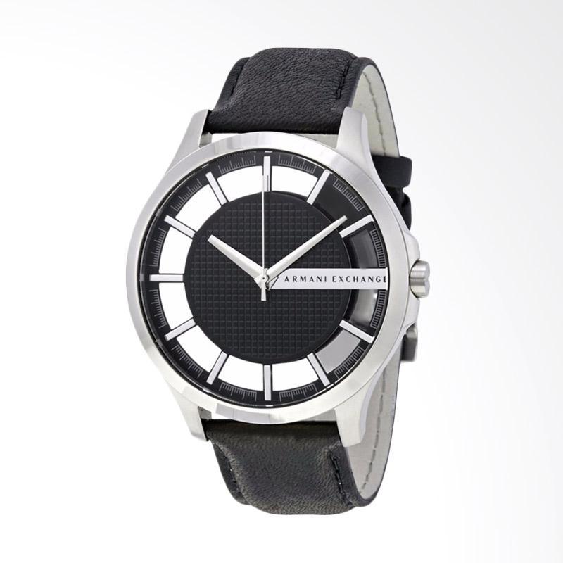 Armani Exchange Smart Black Trasparent Dial Black Leather Strap Jam Tangan Pria AX2186