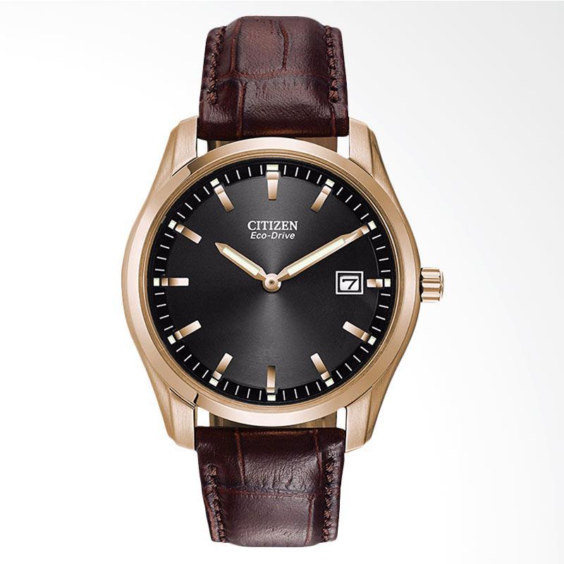 Citizen Eco-Drive Black Dial Brown Leather Strap Men Watch Jam Tangan Pria AU1043-00E