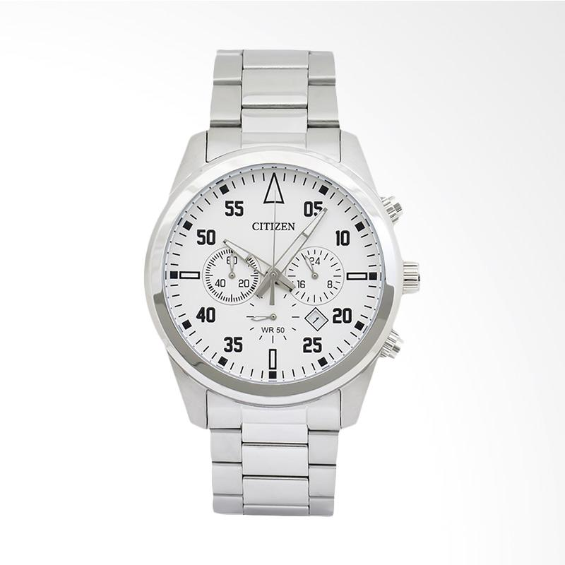 Citizen Chronograph White Dial Stainless Steel Bracelet Watch Jam Tangan Pria AN8090-56A