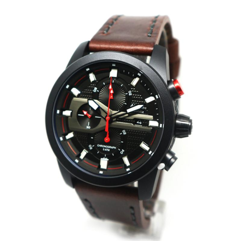 Alexandre Christie Brown Leather Jam Tangan Pria - Black Red 6270