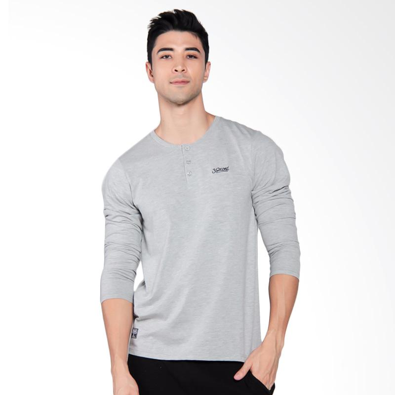 3SECOND Mens Tee T-Shirt Pria - Grey [9210 192101712AB]