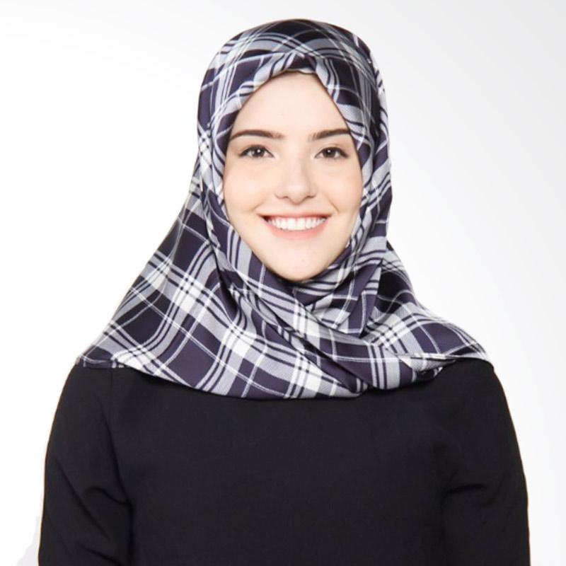 Rauza Rauza Katya Midi Hijab Square - Royal Blue Pinstripe Pattern
