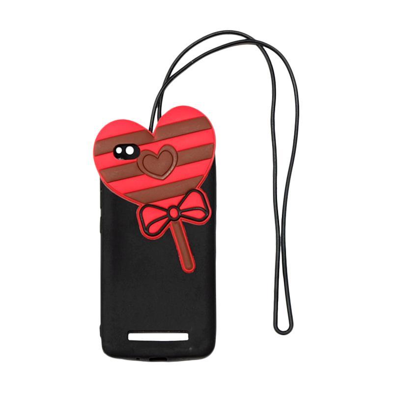 QCF 4D Karakter Candy Love Edition Silikon Softcase with Kalung Tali Gantungan Casing for Xiaomi Redmi 4A - Hitam