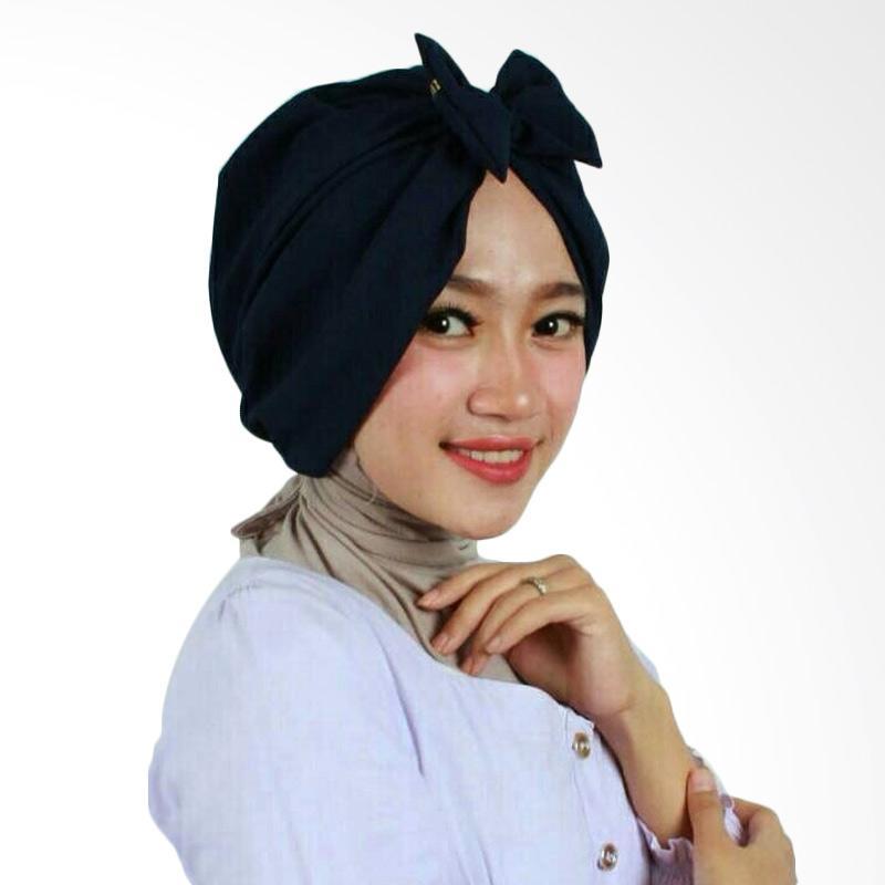Ulasan Terbaru Hijab Bandung Kerudung Bow Turban - Navy Dan Harganya