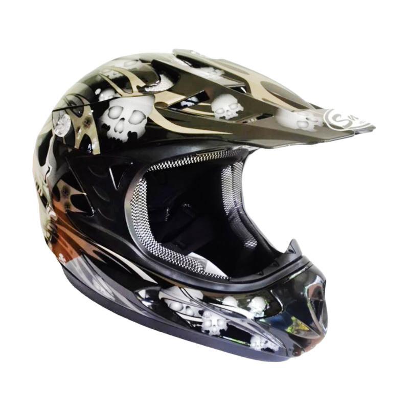 Snail Helmet Motif Tengkorak MX306 Youth Helm Motocross Anak - Hitam