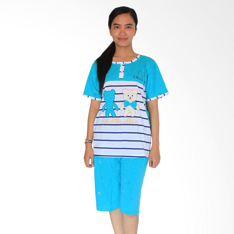 Aily 155 Setelan Baju Tidur Wanita Celana Pendek - Biru