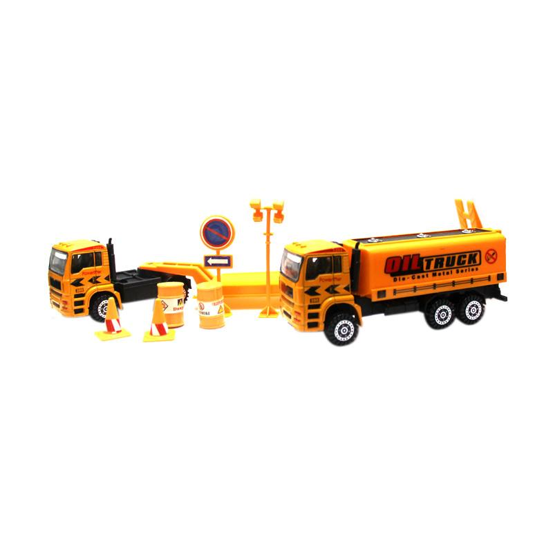 Power Super Metal Construction Oil Truck Mainan Mobil Truk