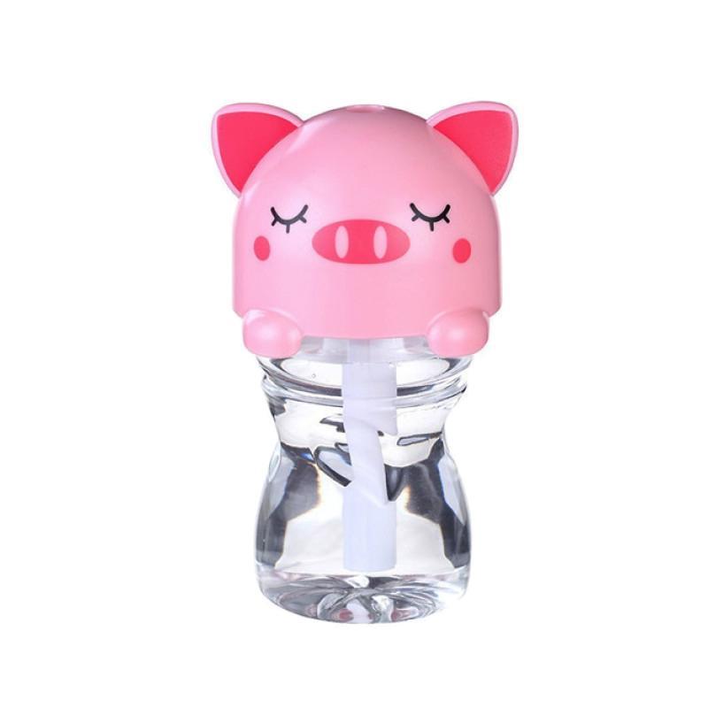 TOKUNIKU USB Mini Portable LED Cartoon Bottle Caps Humidifier - Pink [280 mL]